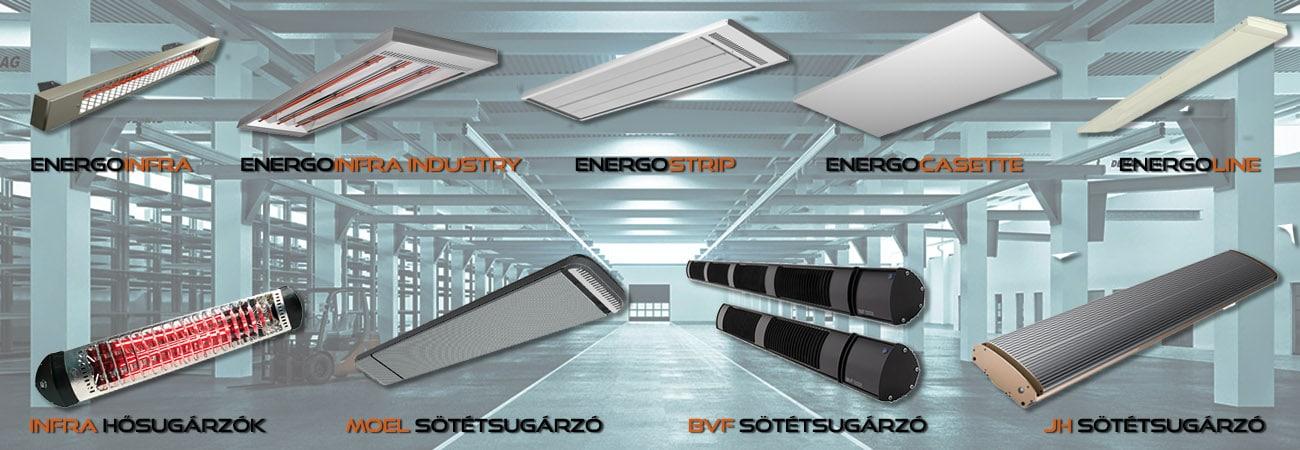 Elektromos ipari fűtések, csarnokfűtés, műhelyfűtés, teraszfűtés